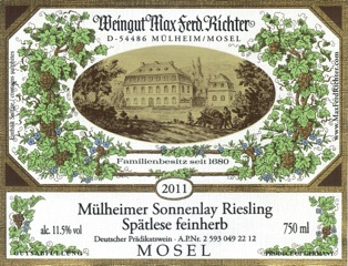 Mülheimer Sonnenlay Riesling Spätlese Feinherb - Ryzlink rýnský, Mosela, Německo