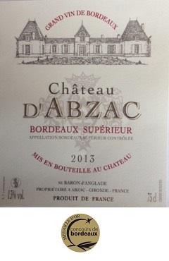 Chateau d'Abzac 2013 - Bordeaux Supérieur